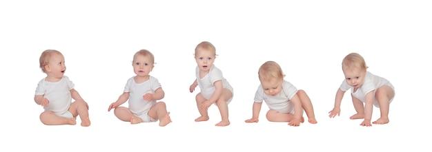 Kolaż ślicznego małego dziecka na białym tle