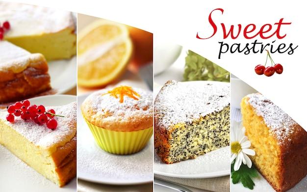Kolaż słodkich ciast
