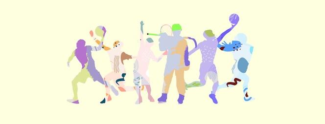 Kolaż sportowy wykonany z rysunkowych sportowców w jasnych, płynnych kolorach na białej ścianie studia