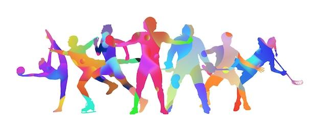 Kolaż sportowy wykonany z rysunku sportowców z jasnymi kolorami płynów na białym tle studio. pojęcie sztuki, inspiracji, odnowy biologicznej, zdrowego stylu życia w akcji i ruchu. ulotka, miejsce.