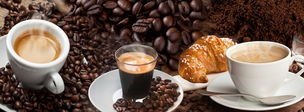 Kolaż transparentu kawy