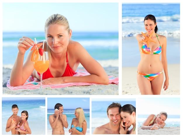 Kolaż urocze pary i atrakcyjne kobiety na plaży