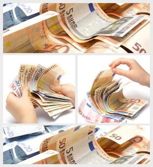 Kolaż wykonany z banknotów euro i rąk
