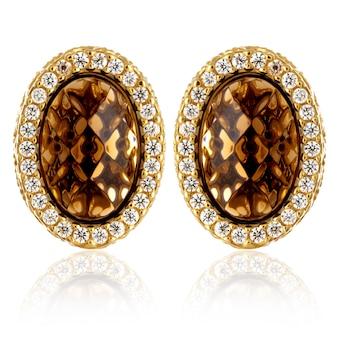Kolczyki złote stylowe fason z kamieniami szlachetnymi