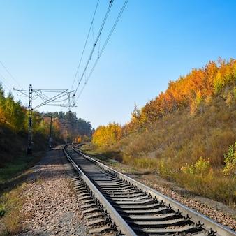 Kolej przechodzi przez piękny jesienny las porośnięty kolorowymi drzewami. droga kręci się, tło kolejowe.