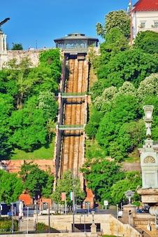 Kolejka linowa na górę, na której stoi pałac królewski królów węgierskich. węgry.