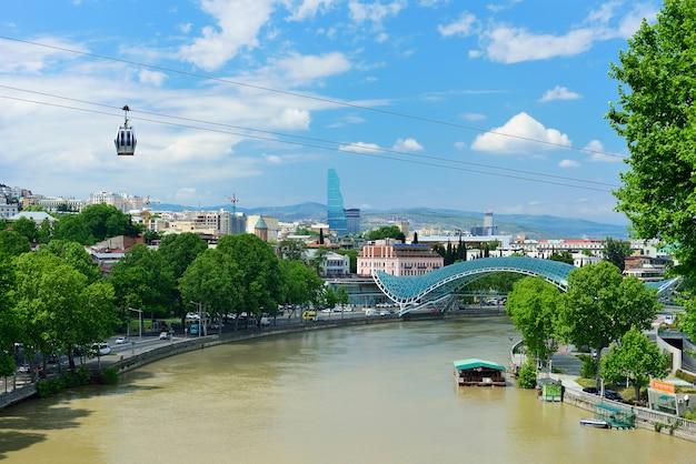 Kolejka linowa po drugiej stronie rzeki
