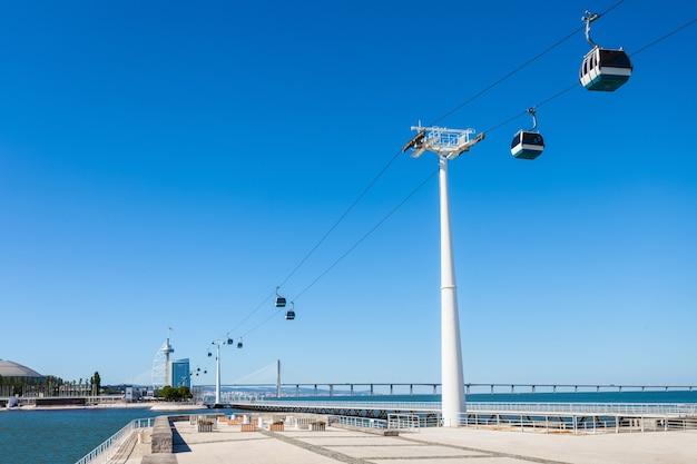 Kolejka linowa w pobliżu oceanarium w lizbonie, centrum porgugal