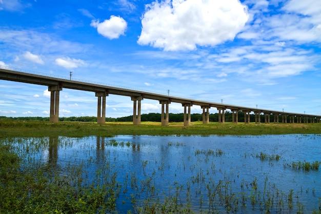 Kolejowy most nad tamą, tory szynowi w rezerwuar, pa sak jolasid tama, lopburi, tajlandia