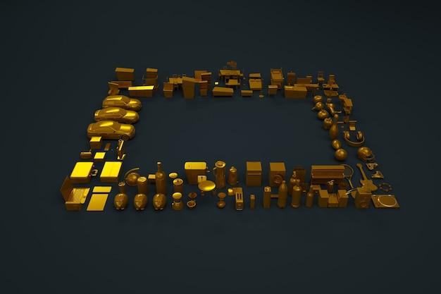 Kolekcja 3d sprzętu agd, agd i mebli. złote figurki. modele 3d, figurki, meble. rzeczy izometryczne, grafika komputerowa. widok z góry, ciemne tło