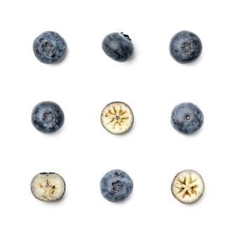 Kolekcja borówka bagienna na białym tle. zestaw wielu obrazów. część serii