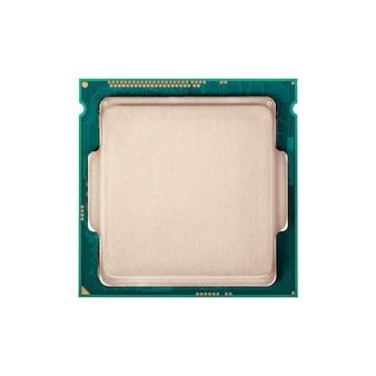Kolekcja elektroniczna - procesor komputerowy od góry na białym tle