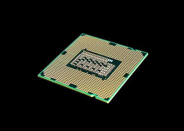 Kolekcja elektroniczna - układ procesora procesora komputera na białym tle na czarnym tle