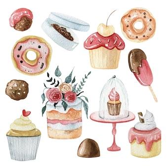 Kolekcja ilustracji akwarela słodki deser. pyszne ciasto i ilustracja czekolady. ślubny zestaw czekoladek i cukierków