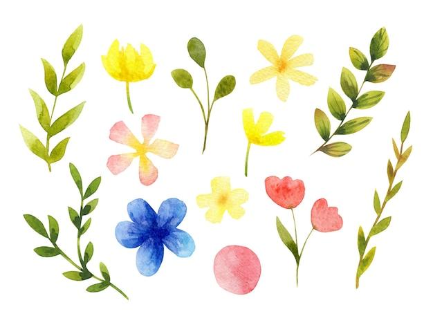 Kolekcja ilustracji kwiatowy na białym tle. akwarela kwiaty i liście zestaw clipartów. elementy wystroju botanicznego.