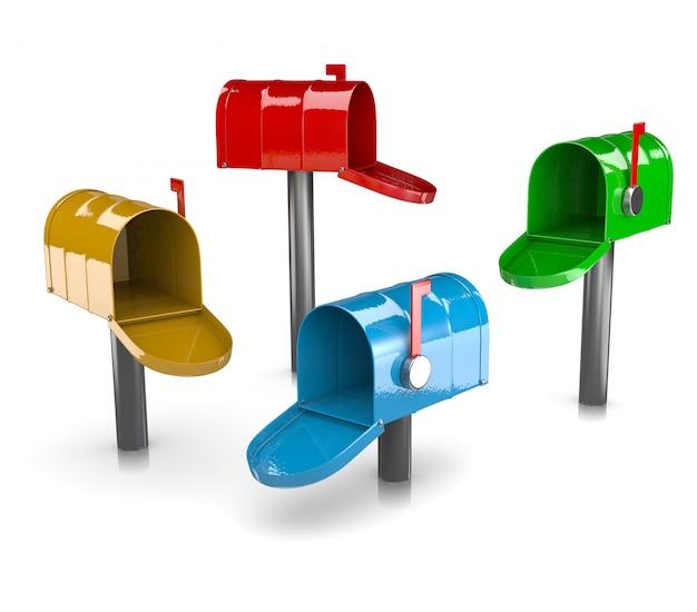 Kolekcja kolorowych skrzynek pocztowych