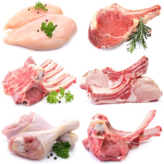 Kolekcja mięsa na białym tle