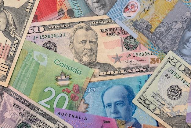 Kolekcja na pieniądzach dolarowych usa, kanadzie i australii