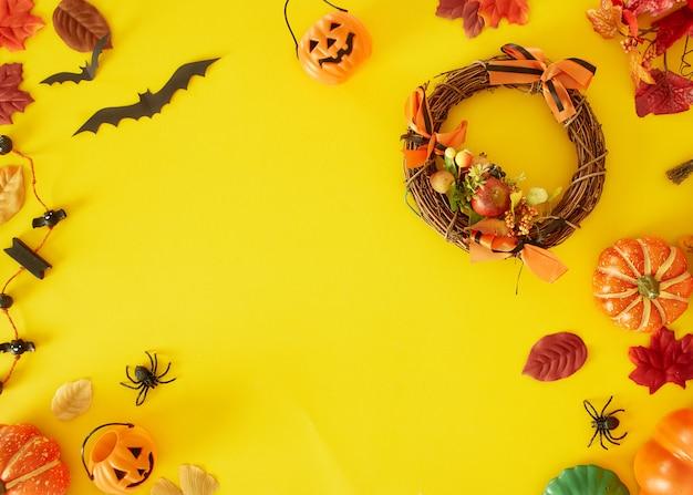 Kolekcja obiektów halloween party tworzących ramkę