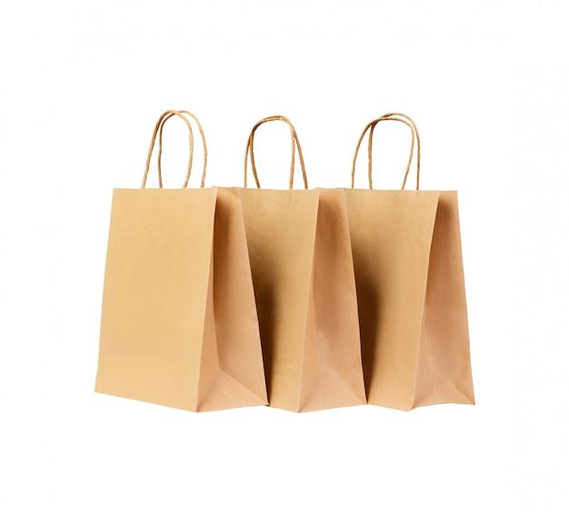 Kolekcja odizolowywająca na białym tle brown papierowa torba