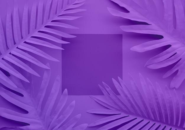 Kolekcja pastelowych tropikalnych liści, roślin liściowych z kosmicznym tłem. streszczenie projektu dekoracji liści. egzotyczny charakter dla szablonu okładki