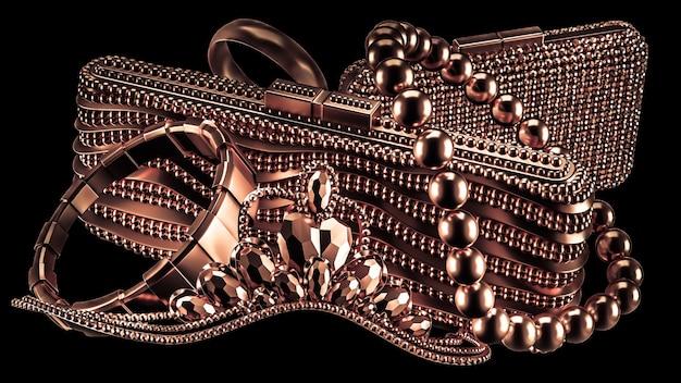 Kolekcja postaci z życia w luksusie, biżuterii i modnych akcesoriach kobiecych