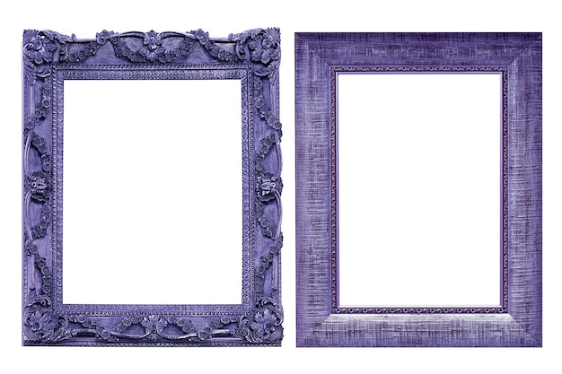 Kolekcja purpurowe ramki na zdjęcia vintage na białym tle