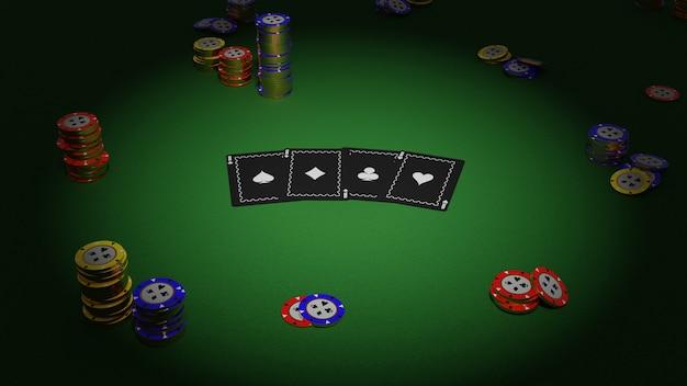 Kolekcja realistyczna izometryczny kasyno i żetony do pokera na zielonym tle