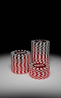 Kolekcja realistycznych izometrycznych żetonów w kasynie, żetonów do pokera na białym tle