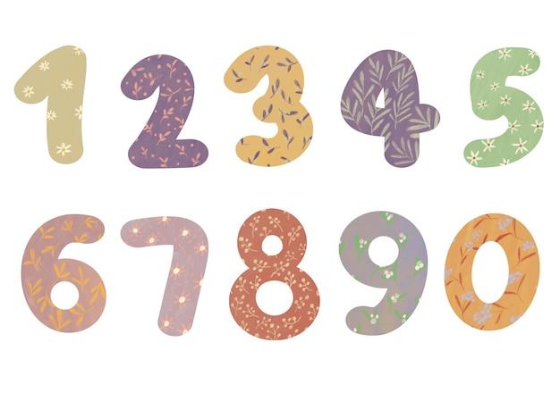 Kolekcja ręcznie rysowanego numeru kreskówek z kolorowym stylem