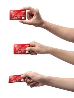 Kolekcja ręki trzymającej karty kredytowej