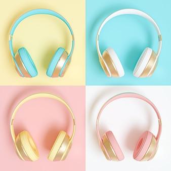 Kolekcja słuchawek audio w różnych kolorach.