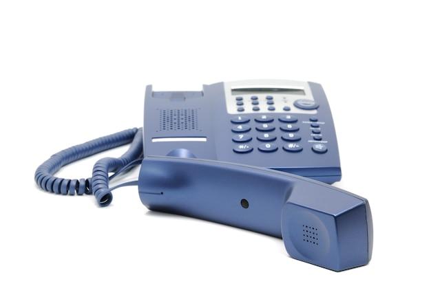 Kolekcja Telefonów - Nowoczesny Telefon Biurowy Niebieski Biznes Na Białym Tle. Premium Zdjęcia