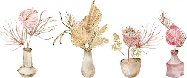 Kolekcja tropikalnych bukietów w wazonach ceramicznych. akwarela zestaw egzotycznych kompozycji. ślub boho.
