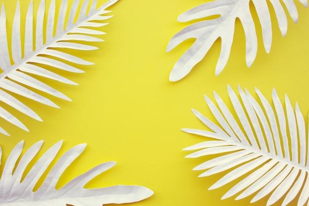 Kolekcja tropikalnych liści, roślin liściowych z tłem przestrzeni kolorów. streszczenie projektu dekoracji liści. egzotyczny charakter szablonu okładki