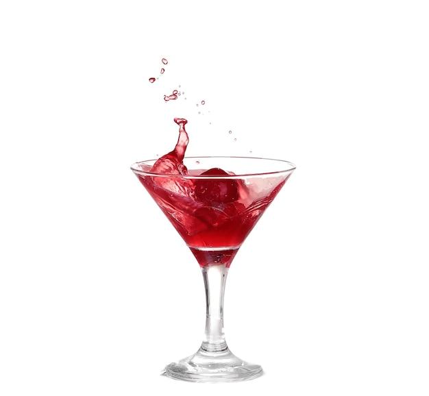 Kolekcja win - rozpryskiwania czerwonego wina w szklance. na białym tle