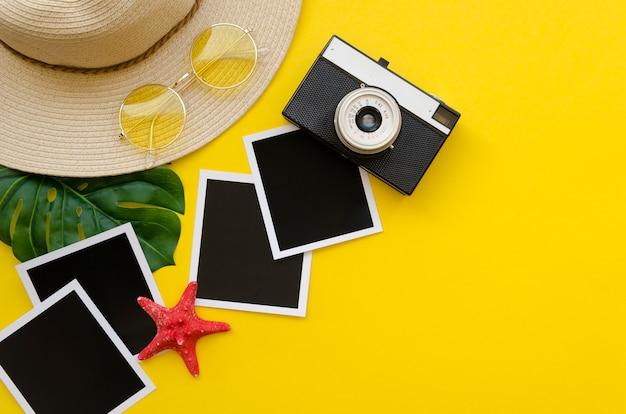 Kolekcja zdjęć z aparatem i kapeluszem