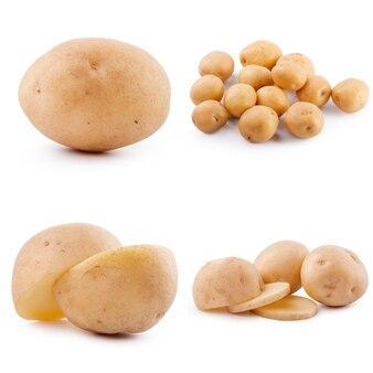 Kolekcja ziemniaków na białym tle