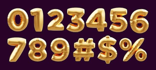 Kolekcja złotego balonu z cyframi od 0 do 9, hashtag, znak dolara, procent do dekoracji cerebration party przez renderowanie 3d. kolekcja liczb 3d złote balony.