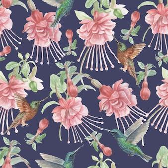 Kolibry i kwiaty fuksji ptaki akwarela ręcznie rysowane ilustracja