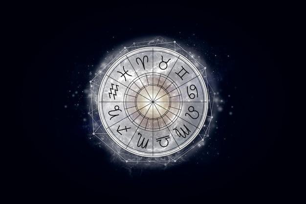 Koło astrologiczne ze znakami zodiaku na tle gwiaździstego nieba
