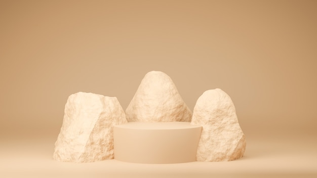 Koło podium brązowy pastelowy kolor z rockiem. ilustracja renderowania 3d. prezentacja makiety na baner brandingowy produktu i produkt kosmetyczny. prezentacja produktu minimalna.