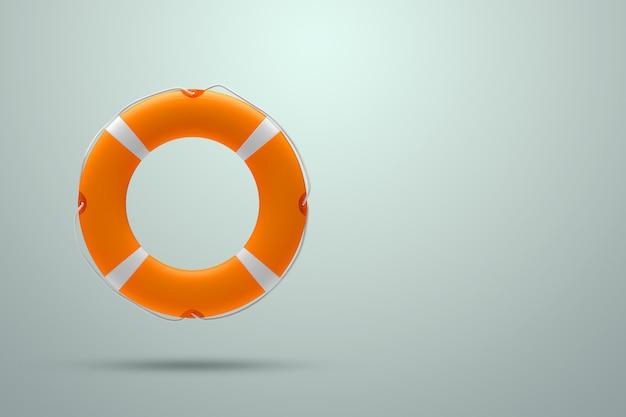 Koło ratunkowe na lekkiej ścianie. pomoc, koncepcja ratowania. skopiuj miejsce ilustracja 3d, rendering 3d.