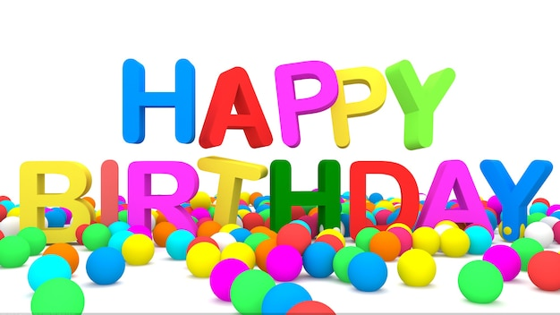 Kolor Happy Birthday Ze Stertą Piłek Premium Zdjęcia