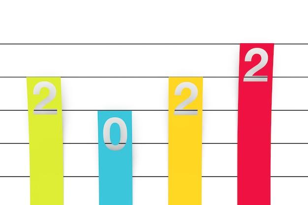 Kolor kolumnowy płaski wykres wykres infografiki elementy papieru z 2022 nowy rok znak na białym tle. renderowanie 3d