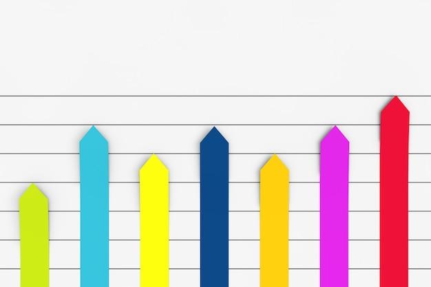 Kolor kolumnowy wykres płaski wykres infografiki strzałka elementy papieru na białym tle. renderowanie 3d