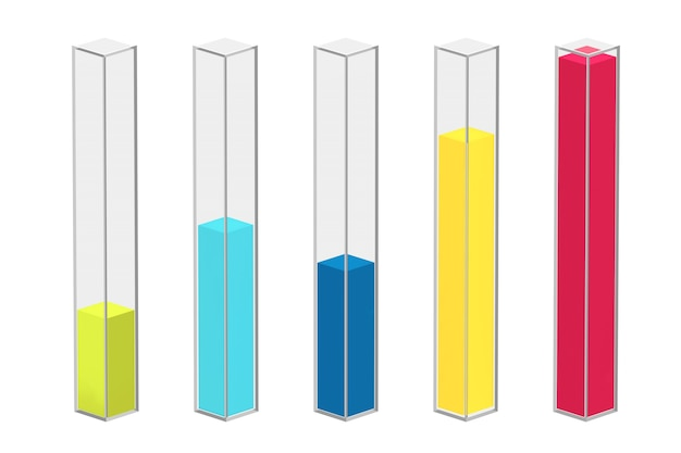 Kolor kolumny infografiki szkło wykresu słupki na białym tle. renderowanie 3d