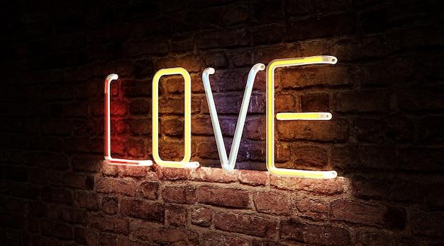 Kolor neonowe światło symbolu tablicy love sign na ścianie z cegły