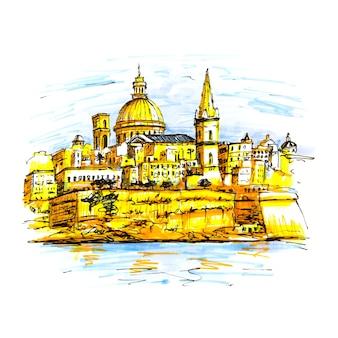 Kolor szkicu nasypu valletta, malta. wyściółka wykonana na zdjęciu