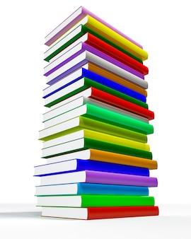 Kolor zamkniętych książek na białym tle.